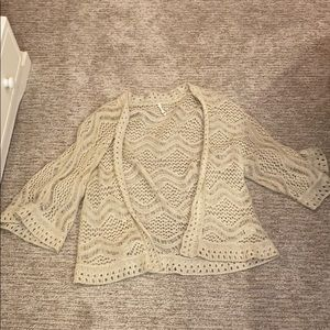 Bell Sleeve Light Crochet Cardigan